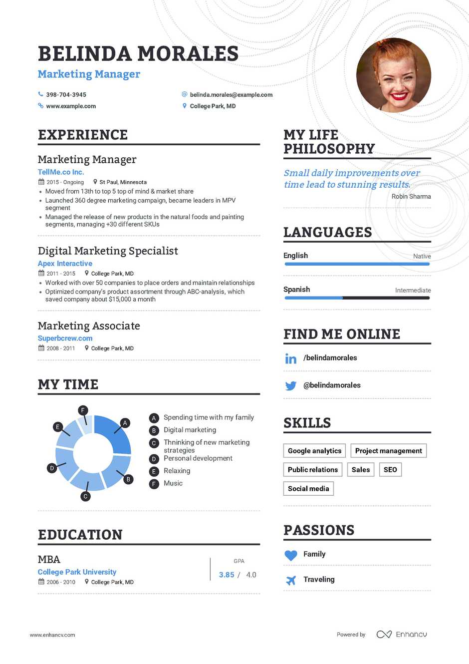 examples of marketing experience in resume