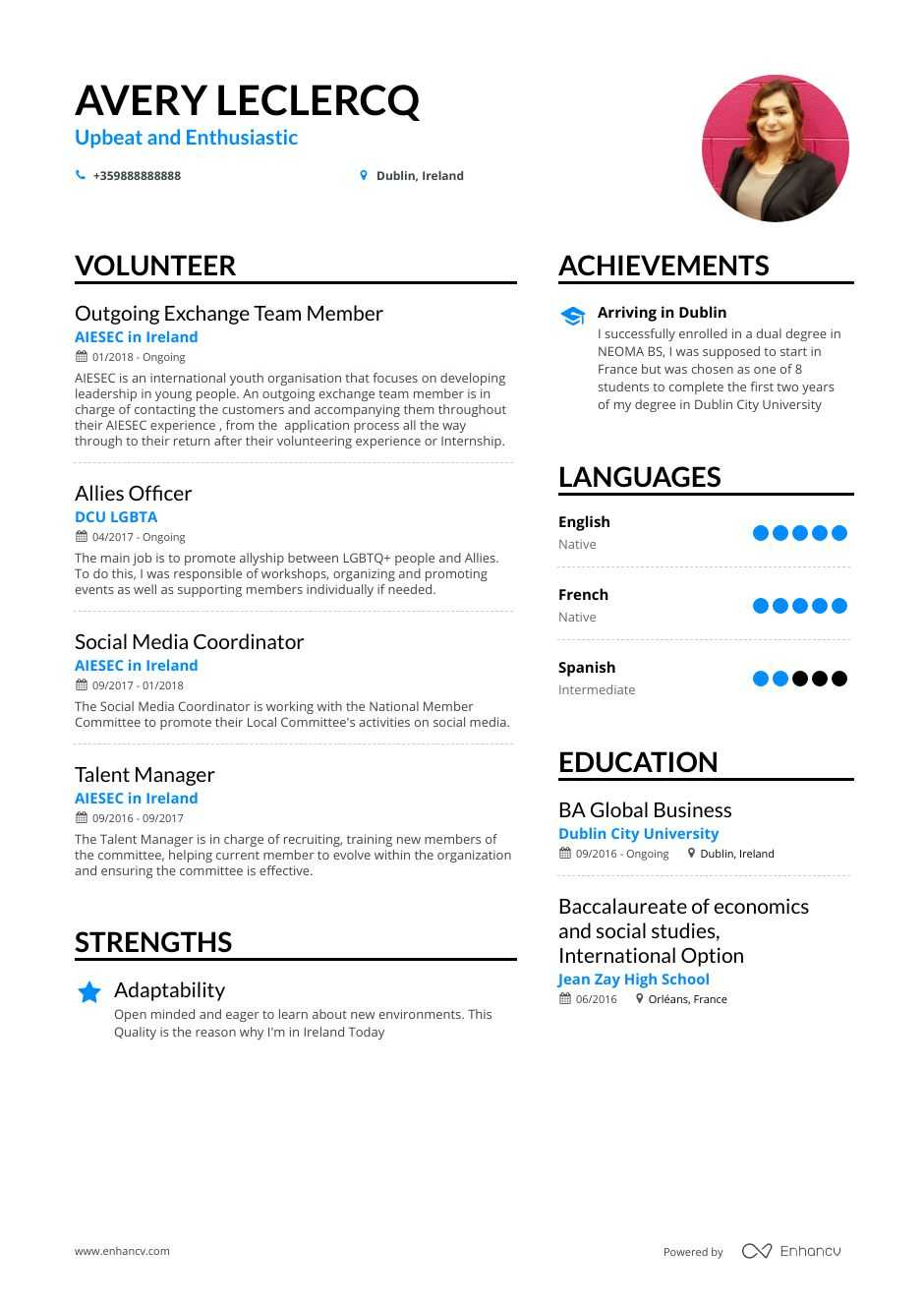 resume templates volunteer experience