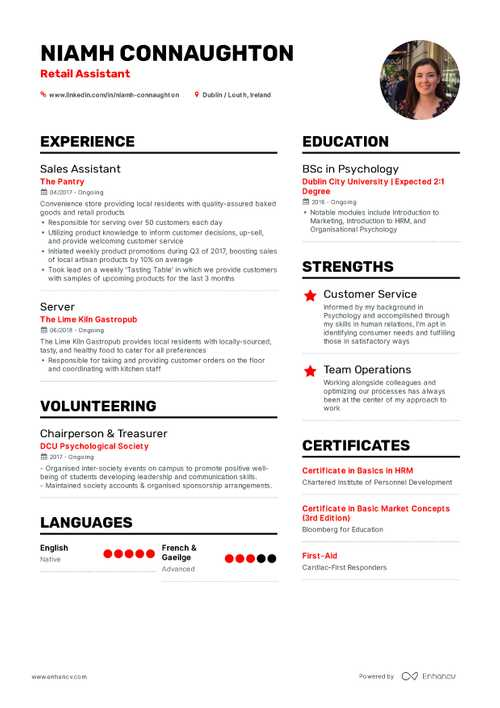 good resume templates for retail