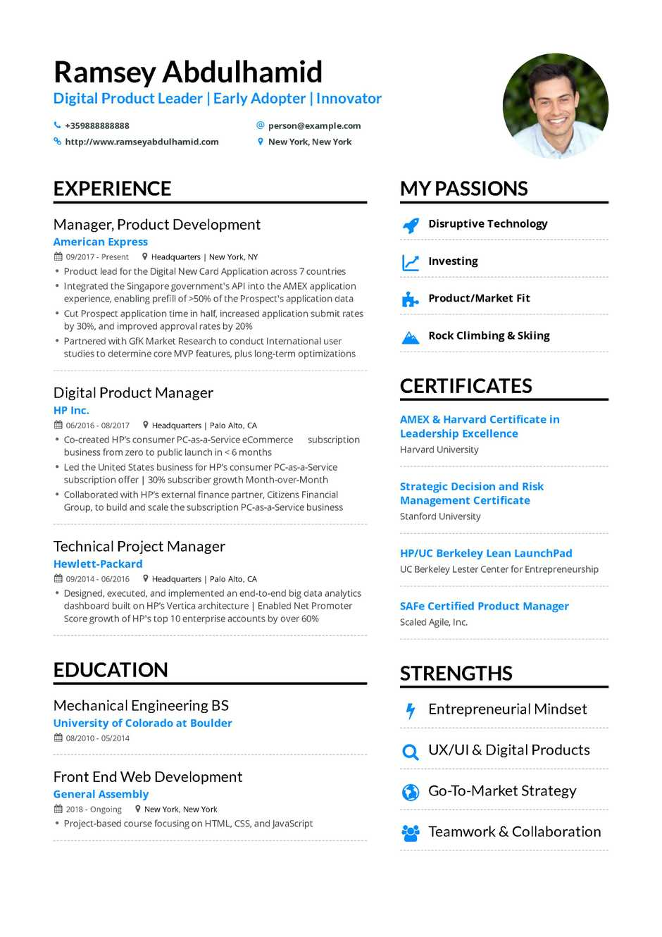 best resume examples for project managers