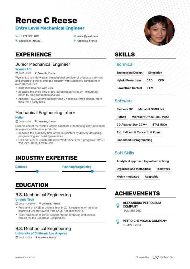 Mechanical Engineer Resume Examples