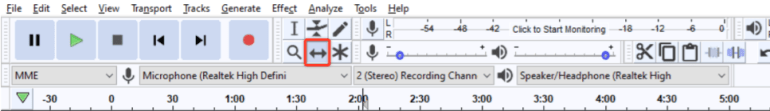 Time shift tool in Audacity