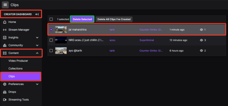 how to delete a clip on Twitch