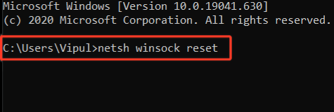 steps to reset winsock directory