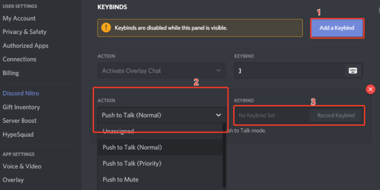 Steps to add key to use the Push to talk feature on Discord