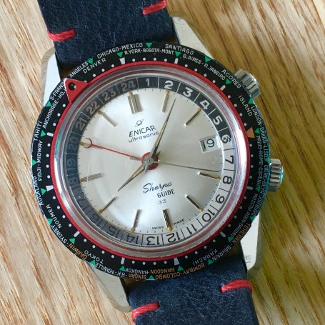 Early Sherpa Guide with cresend moon GMT hand.