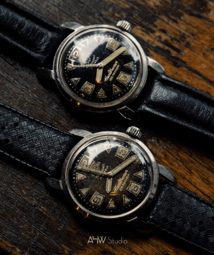 Two 1955 Healthways 100 Fatoms watches from @ahwstudios