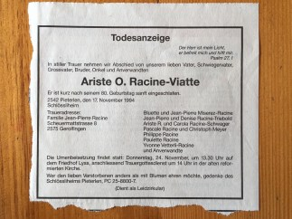 Obituary of Ariste Racine Jr.