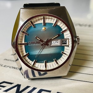 Enicar blue dial watch front