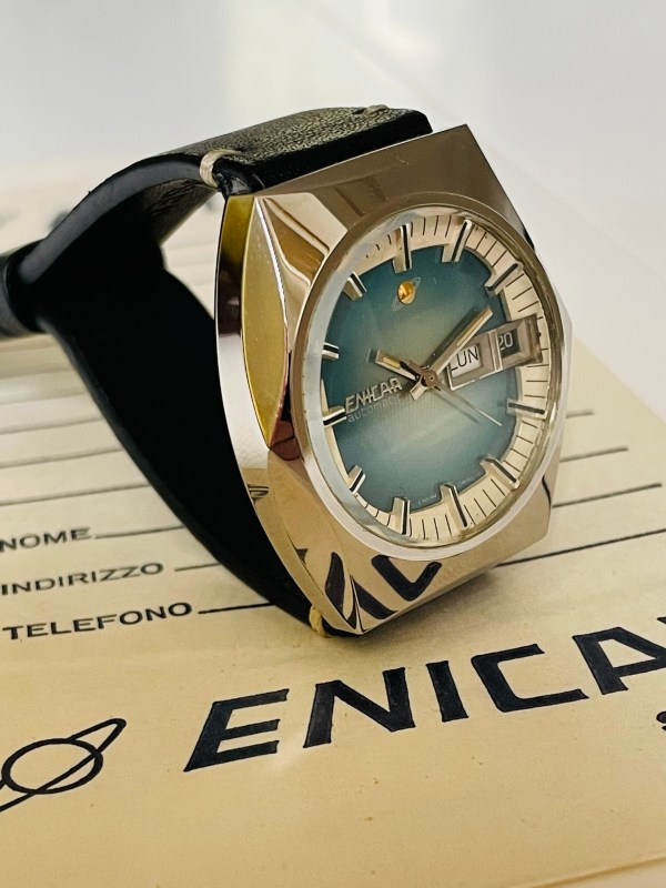 Enicar blue dial watch angle
