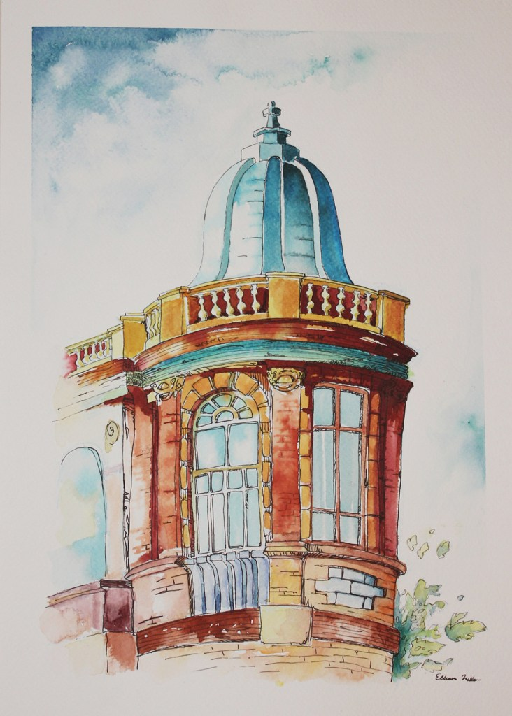 Water color and pen drawing of Hasan Abad square in Tehran