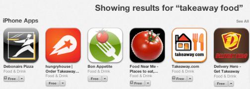 App Store - Takeaway Food Apps, Jan 2014