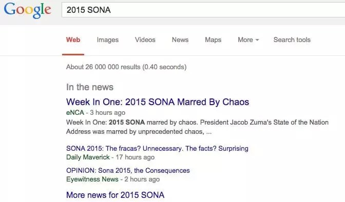 2015 SONA: Google Search Engine Results as at 16 /02/15, 6:07pm GMT+2
