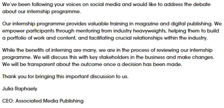 Marie Claire statement