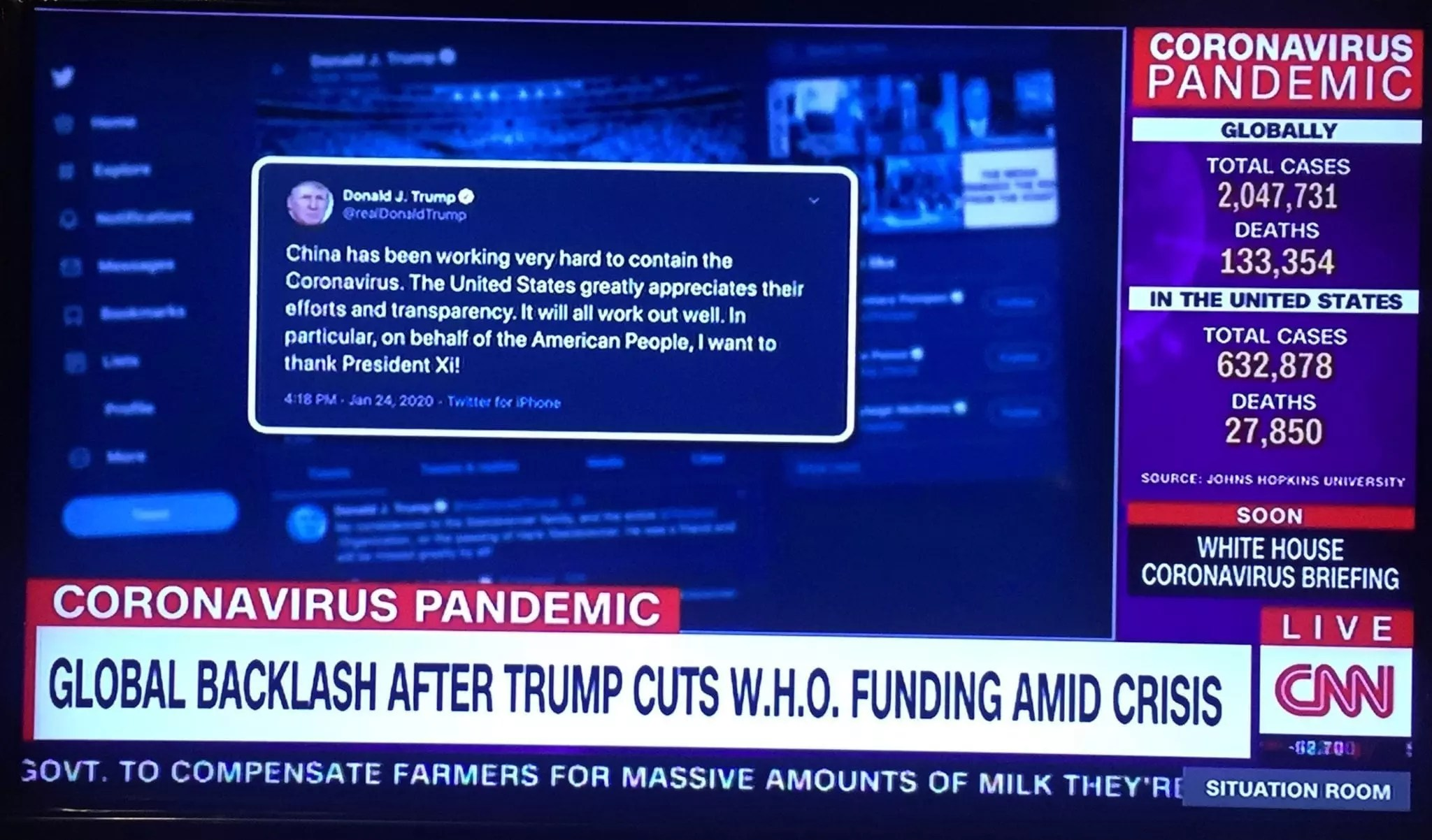 eNitiate | CNN | Coronavirus Pandemic | Social Media Metrics | Trump Backlash | W.H.O. | 16 Apr 2020