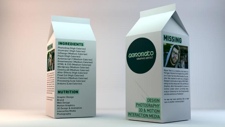 contoh cv kreatif bentuk susu kotak