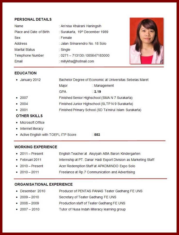 Contoh Daftar Riwayat Hidup Fresh Graduate Smk