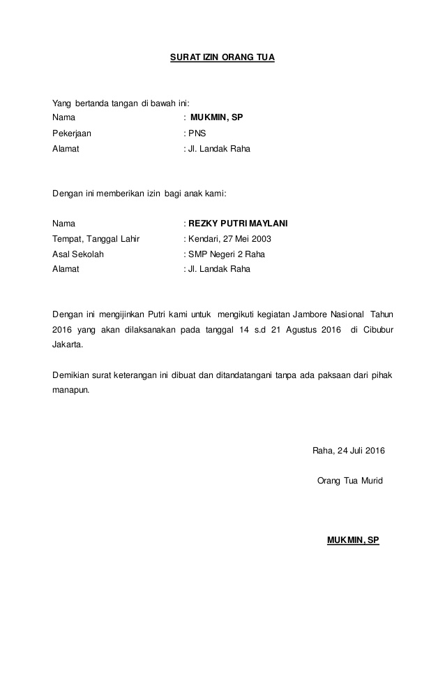 surat izin dari orang tua