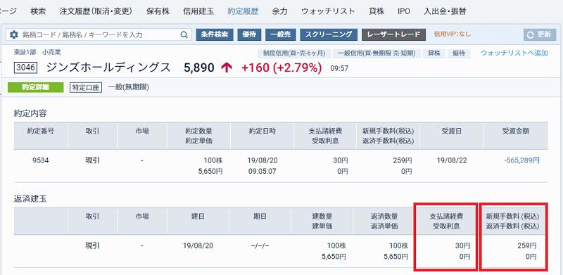 「買」のコストが表示された画面