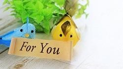 二羽の鳥とくちばしにくわえた紙に「FOR YOU」の文字