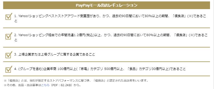 PayPayモール出店レギュレーション