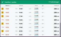 Flugpreisübersicht Frankfurt-London am Sonntagnachmittag