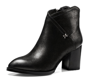 Nine Seven Genuine Leather Women's Pointed Toe Chunky Heel Side Zip Handmade Trendy Designed Ankle Boots