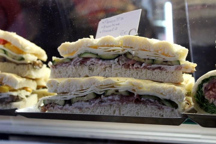 Salami sandwich in Saint Mark's Square Venice Italy