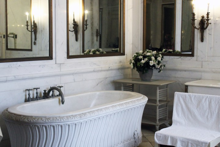The Breakers - Newport RI | A luxurious bathtub at The Breakers, carved from a single slab of marble and weighing almost one ton, offered the ultimate in relaxation. Four spigots ran hot and cold salt and fresh water. The salt water was piped in from the Atlantic Ocean and considered therapeutic.