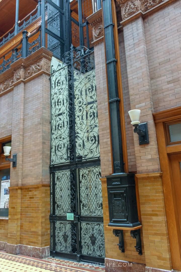 The Bradbury Building Los Angeles - filigree ironwork and mailbox