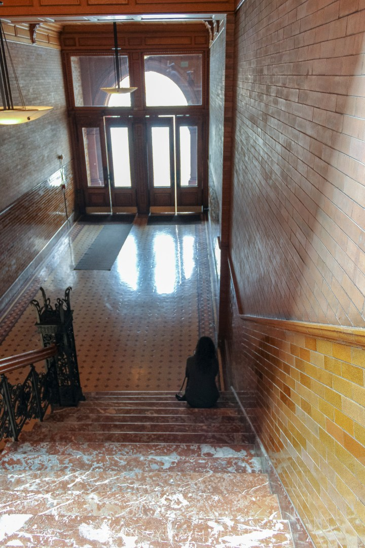 The Bradbury Building Los Angeles - exit and marble stairs