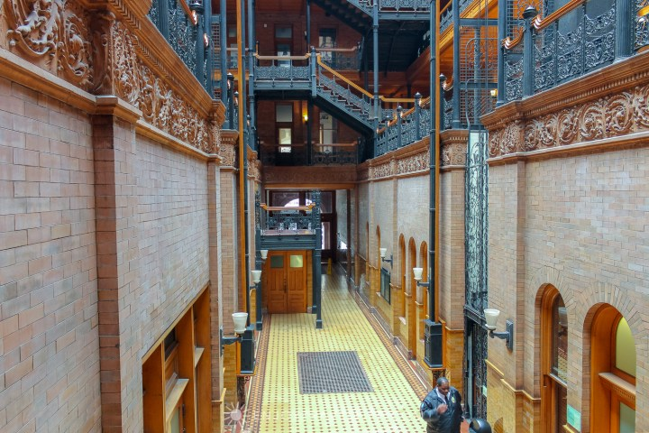The Bradbury Building Los Angeles - interior viewed from first floor landing