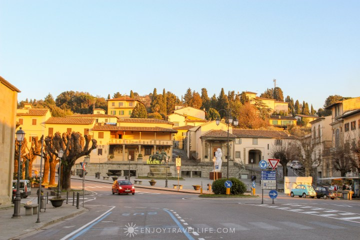 Sunset over Florence Italy - Fiesole piazza