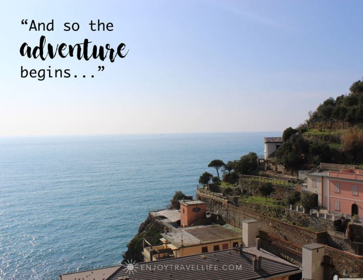 "Inspirational travel quote overlay: ""and so the adventure begins..."" in Positano Italy"