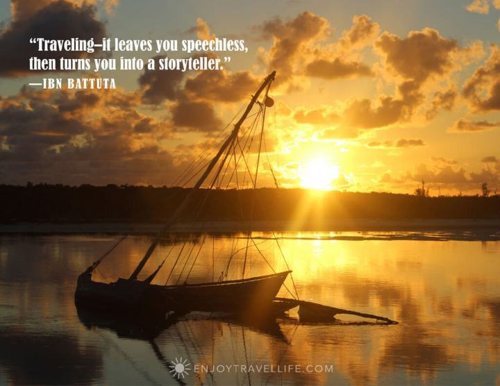 Shipwrecked sailboat at sunset with travel inspo