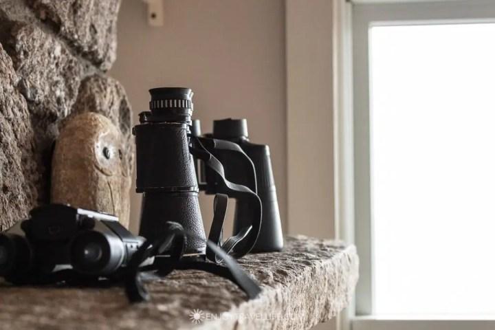 Binoculars on a mantel for birdwatching - Atlantic ocean view