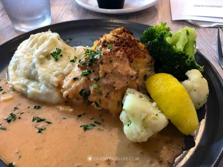 Crab Stuffed Haddock lunch at Finz in Salem Massachusetts