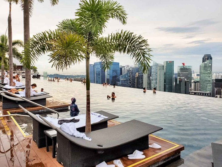 Romantic infinity pool is on the roof of a Singapore hotel