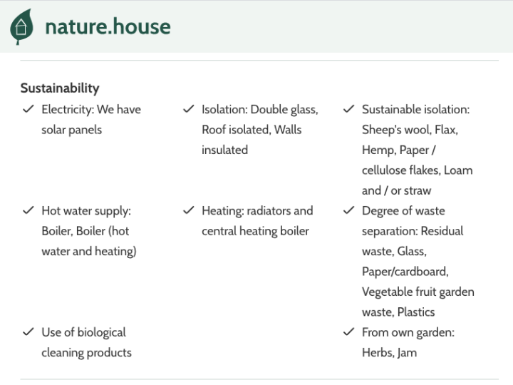Sustainability features of a rental