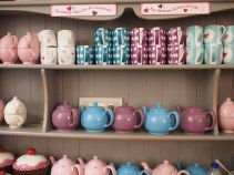 Tea cups, post and mugs at the Baking Bird