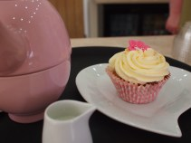 Apple Crumble Custard cupcake and tea The Baking Bird