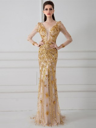 unique-sexy-v-neck-long-sleeve-see-through-nude-tulle-gole-sequined-mermaid-pageant-prom-dresses