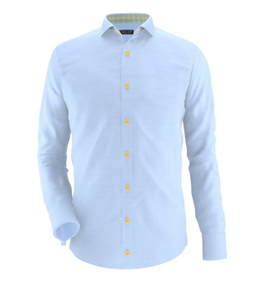 fa773dab Ny lyseblå skjorte med gule knapper og cut-away-snipp