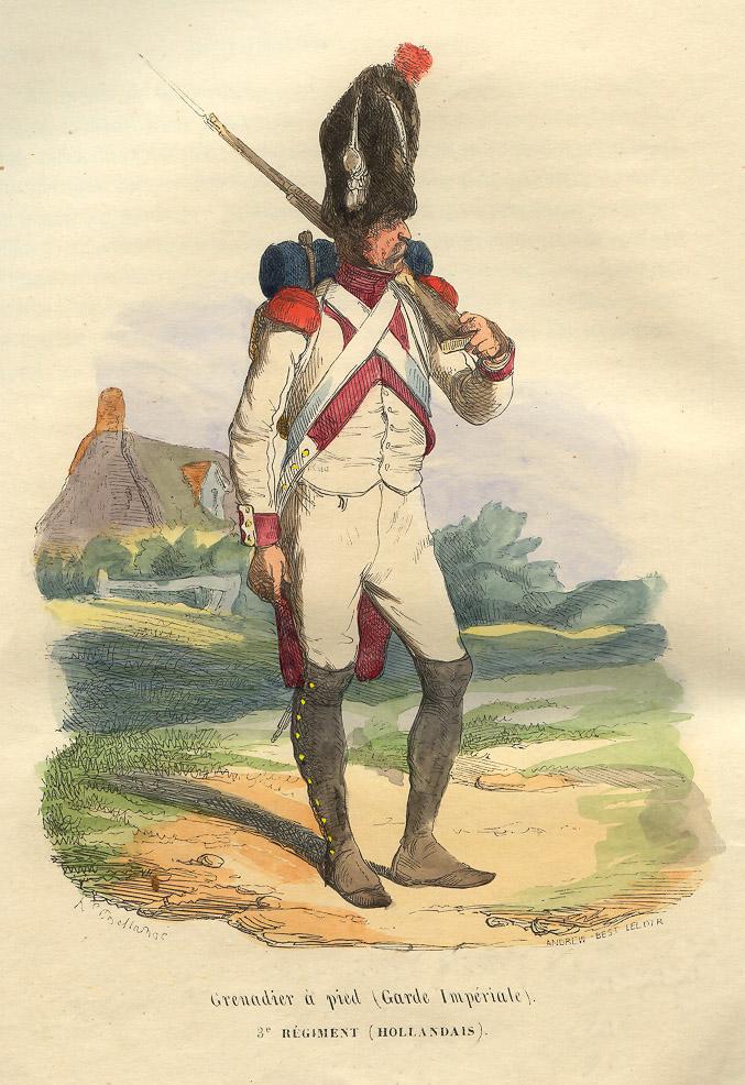 Soldat fra Napoleons livgarde. Legg merke til knappene på ermene