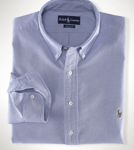 Klassisk blå Oxford button-down fra Ralph Lauren