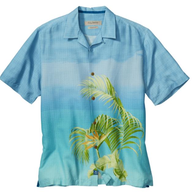 Hawaii-skjorte med typisk polynesisk mønster. Silke fra Tommy Bahama