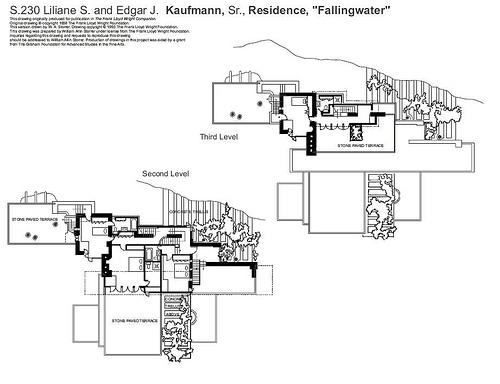 la maison sur la cascade plan 2  Frank Lloyd Wright  de paysage en paysage