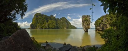 "One of the most famous landmark, the needle-shaped limestone rock jutting out of the sea well known as James Bond Island. Some scenes in the movie ""The Man With the Golden Gun"" were filmed here. Phang Nga Bay, Thailand"