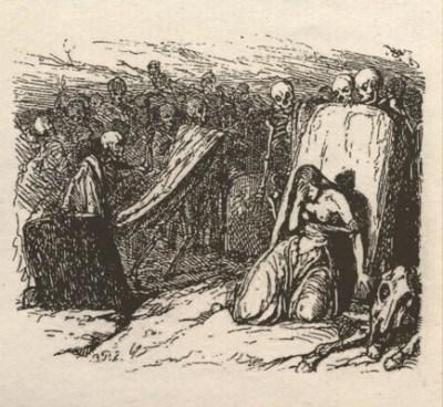 Le cimetière ou Lénore - Octave Penguilly gravure Louis - 1842