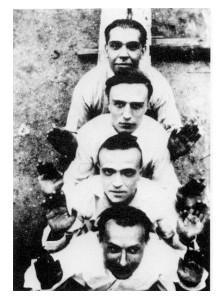 André Masson, Michel Leiris,  Roland Tual et Juan Gris.  Nemours-près-Fontainebleau, 1924